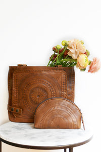 Leather Cosmetic Bag*Makeup bag*Leather Tooled Bag