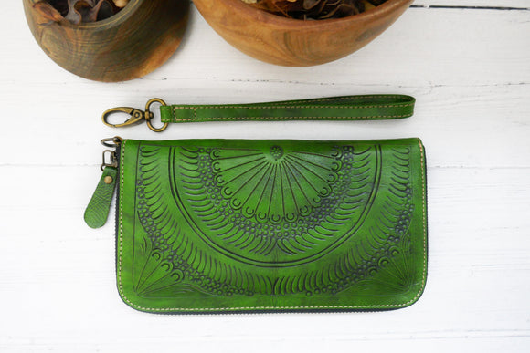 Green Zip Around Wallet for Women