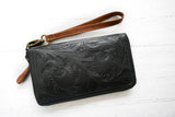 Black & Tan Zip Around Wallet for Women