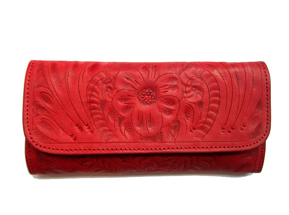 Red Trifold Wallet for Women
