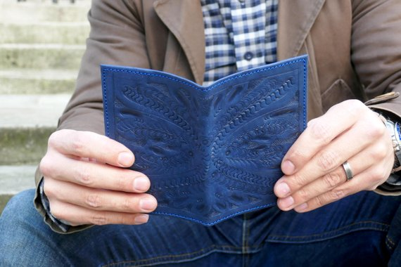 Blue Leather Passport Holder