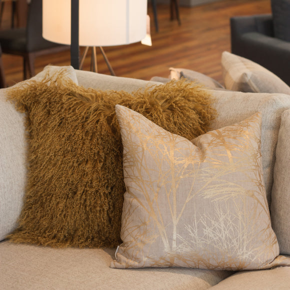 Mongolian Sheepskin Throw Pillows