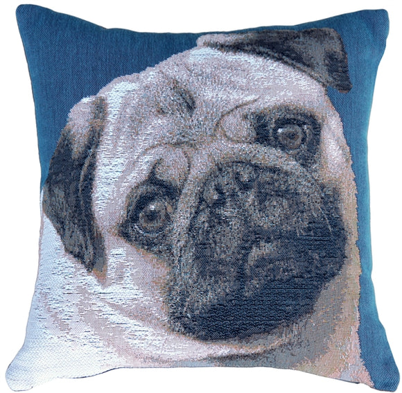 Pug Pillow 14x14 French Tapestry Throw Pillow