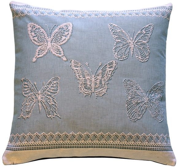 Lace Butterflies in Blue French Tapestry Throw Pillow