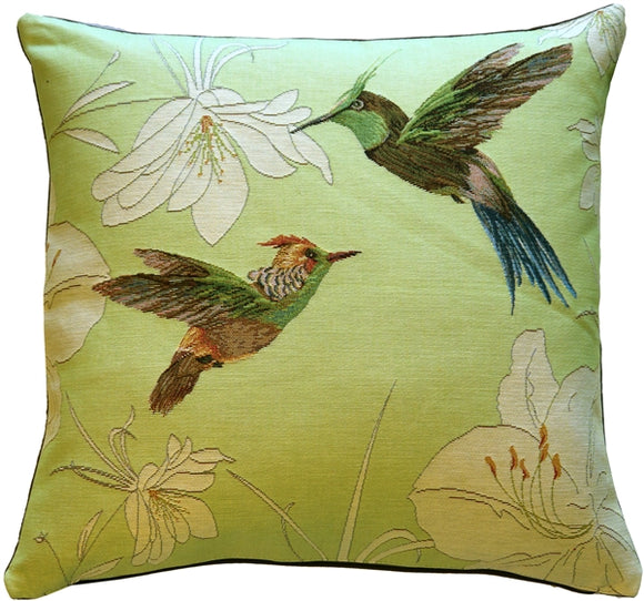 Hummingbirds Green French Tapestry Throw Pillow