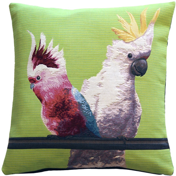 Cockatiel Birds Green Tapestry Throw Pillow