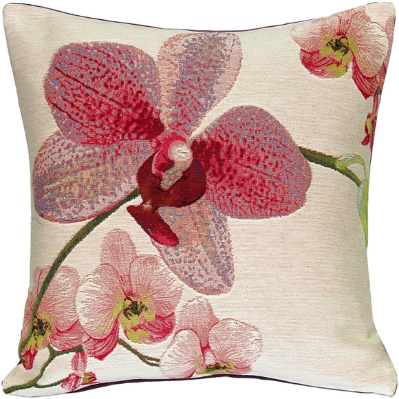 Pink Orchids Floral French Tapestry Throw Pillow 19x19