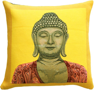 Buddha in Yellow French Tapestry Throw Pillow
