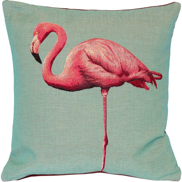Pink Flamingo French Tapestry Throw Pillow 19x19