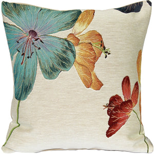 Geranium Floral French Tapestry Throw Pillow 19x19