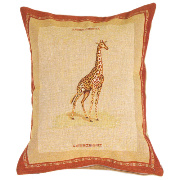 Giraffe French Tapestry Throw Pillow