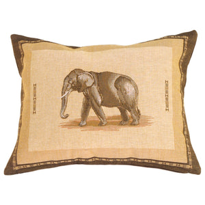 Elephant French Tapestry Throw Pillow