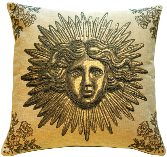Sun King Beige Tapestry Throw Pillow
