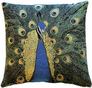 Peacock Tapestry 19x19 Throw Pillow