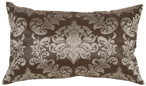 Damask in Silver Blue Silk Accent Pillow