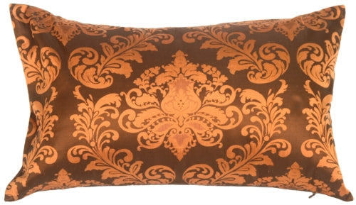 Damask in Copper Orange Silk Accent Pillow