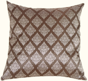 Diamond Square in Silver Blue Silk Accent Pillow