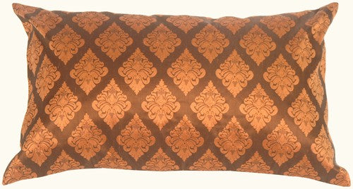 Diamond Rectangle in Copper Orange Silk Accent Pillow