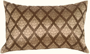 Diamond Rectangle in Taupe Silk Accent Pillow