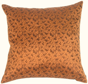 Fine Chain Copper Orange Silk Accent Pillow