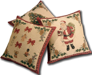 Set of Three Christmas Tapestry 19x19 Throw Pillows