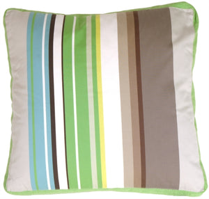 Green Apple & Gray Stripes Throw Pillow