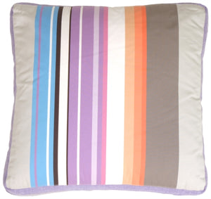 Grape & Charcoal Stripes Throw Pillow