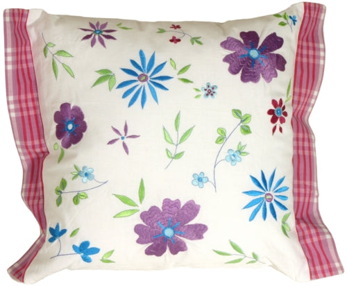 Blue Violet Floral Throw Pillow