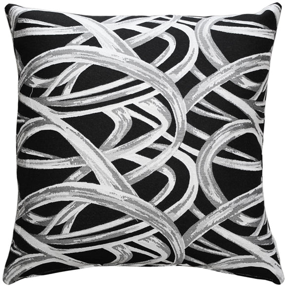 Flair 18x18 Black Throw Pillow