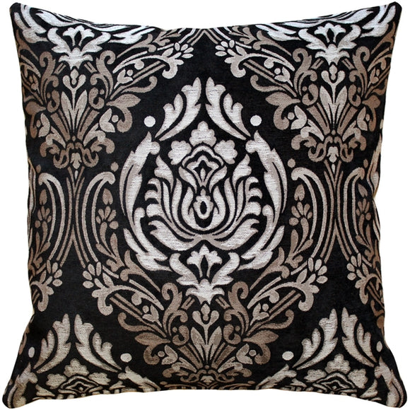Palazzo Black 22x22 Throw Pillow