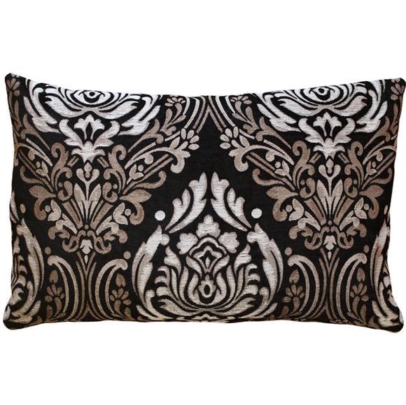 Palazzo Black 16x24 Throw Pillow