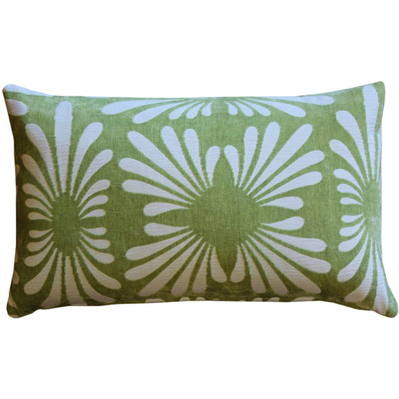 Velvet Daisy Green 12x20 Throw Pillow