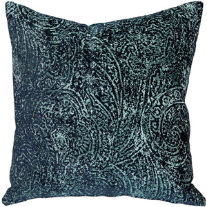 Visconti Teal Blue Chenille Throw Pillow 17x17
