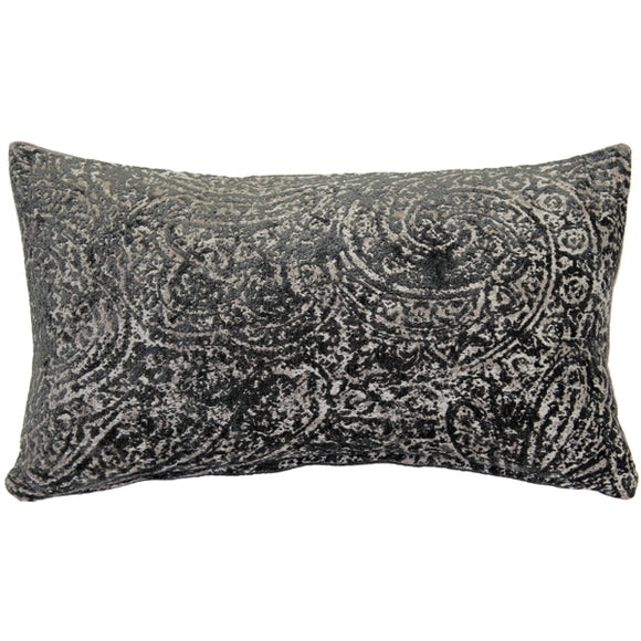 Visconti Gray Chenille Throw Pillow 12x20