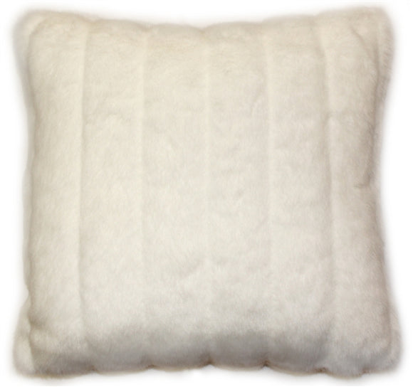 Minky White Stripes Throw Pillow