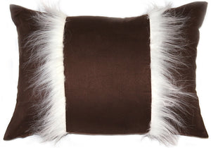 Chino Microsuede Chocolate Brown Throw Pillow 16x20