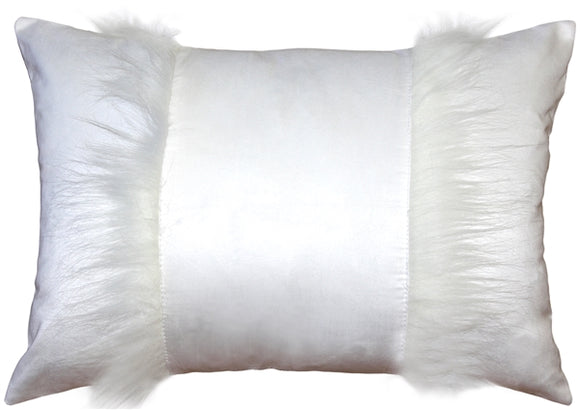 Chino Microsuede White Throw Pillow 16x20