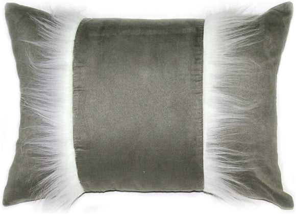 Chino Microsuede Sage Gray Throw Pillow 16x20