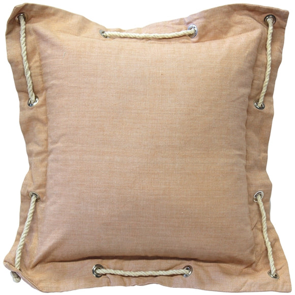 Nautical Sandy Beige Cotton Throw Pillow 16x16