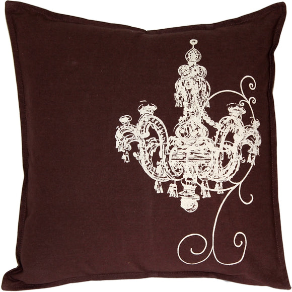 Chandelier Brown Cotton Throw Pillow 17x17