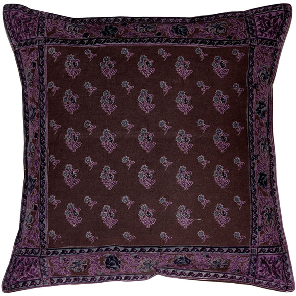 Somerset Downs Purple Cotton Throw Pillow 16x16