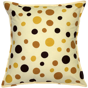 Polka Dot Confetti Yellow Cotton Throw Pillow 17X17