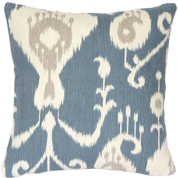 Taman Ikat Blue Throw Pillow 16x16