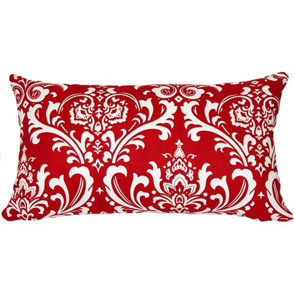 Royal Red Damask Throw Pillow 13x24