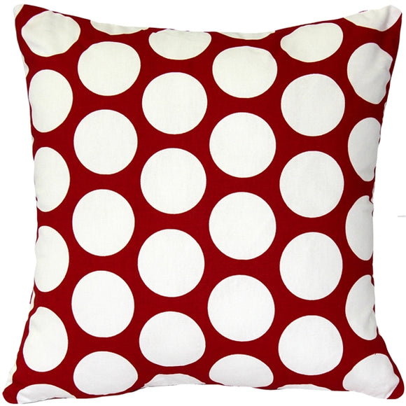 Red and White Polka Dot Throw Pillow 16x16