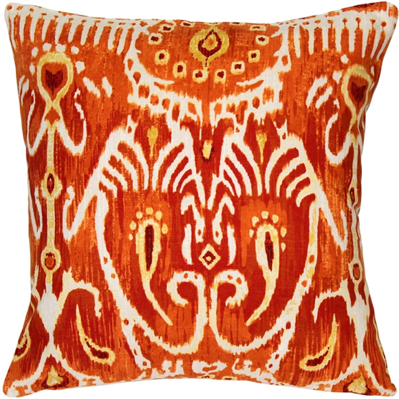Orange Java Ikat Throw Pillow 17x17