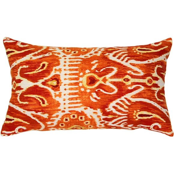 Orange Java Ikat Throw Pillow 13x24