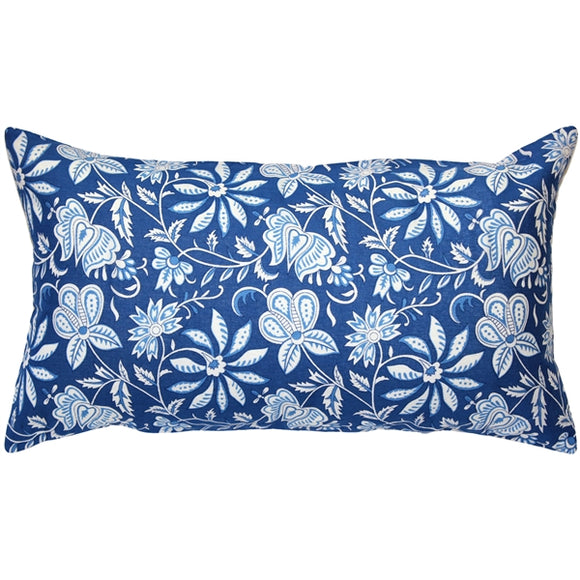 Dutch Blue Floral Throw Pillow 13x22