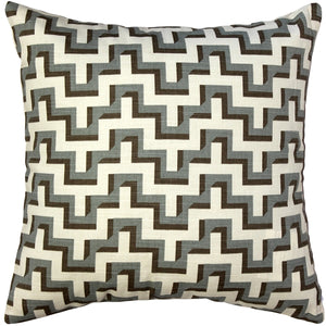 Gray Brown Zig Zag Throw Pillow 17x17