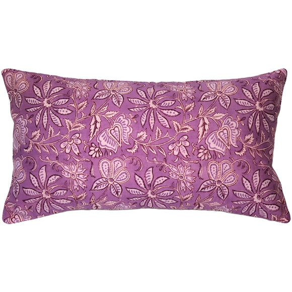 Mauve Flowers Throw Pillow 12x24